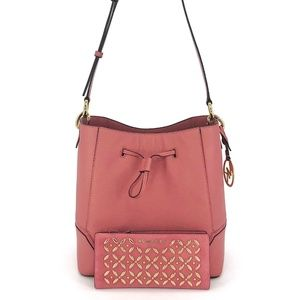 2PCS Michael Kors Nicole Large Bucket Bag Wallet